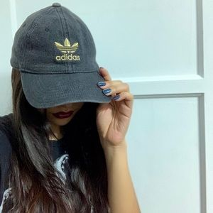 Adidas gold embroidered logo dad hat gray denim